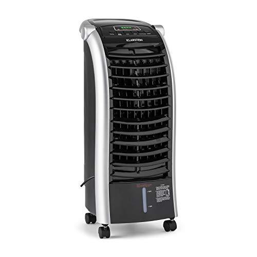 Klarstein Maxfresh - 3-in-1 mobiles Klimagerät: Luftkühler, Ventilator & Luftbefeuchter, 55 Watt, 444 m³/h, 4 Geschwindigkeitsstufen, Oszillation, 51 dB, Timer bis 15 h, Wassertank: 6 Liter, schwarz