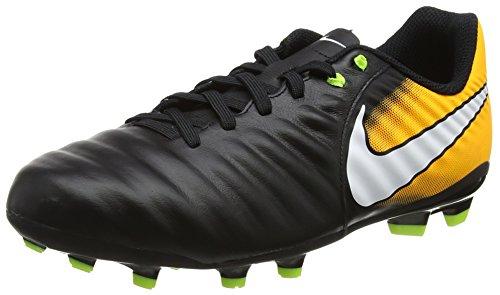 Nike Unisex-Kinder Tiempo Ligera IV FG JR 897725 008 Fußballschuhe, Schwarz (Black/White-Laser Orange-Volt), 38.5 EU