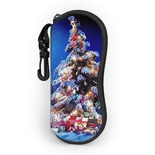 Funda de Gafas Noche de luna de ciervo de árbol de Navidad Ultra Ligero Neopreno Suaves viaje Estuche para Gafas de caso Bolsa con Clip de Cinturón