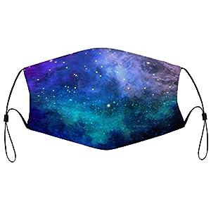 Blue Stars – Maschera in tessuto lavabile, riutilizzabile, antipolvere, unisex, traspirante, grande, per uomo e donna, 5 pezzi