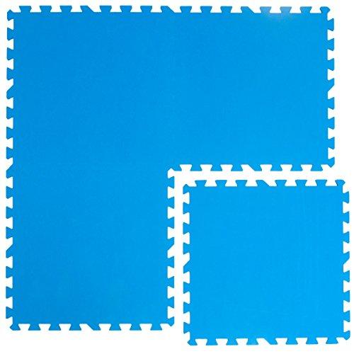EYEPOWER 1cm Dicke Poolmatte 4er Set Bodenmatte 1qm Bodenfliesen Bodenfolie Unterlage für Pool Robustes erweiterbares Stecksystem Blau