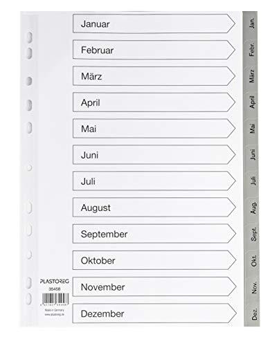 5er Set 12-teiliges Register/Trennblätter aus PP für DIN A4 mit Monaten Jan-Dez + praktischem Deckblatt aus stabilem Papier zum Beschriften. Trenn-Blätter für die Ordner-Organisation im Büro.