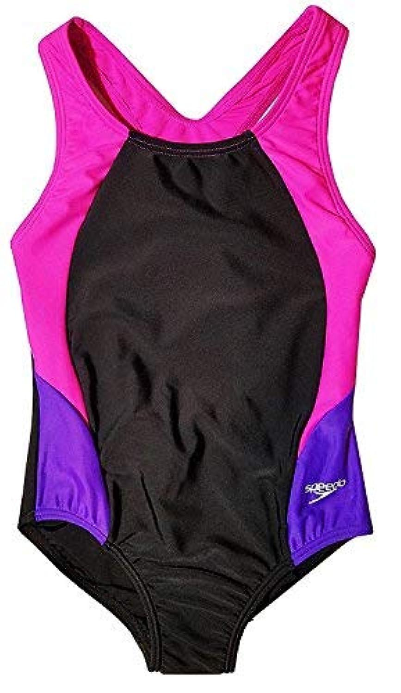 Speedo Big Girls' Solid Infinity Splice One Piece Swimsuit (6 Black Pink) [並行輸入品]