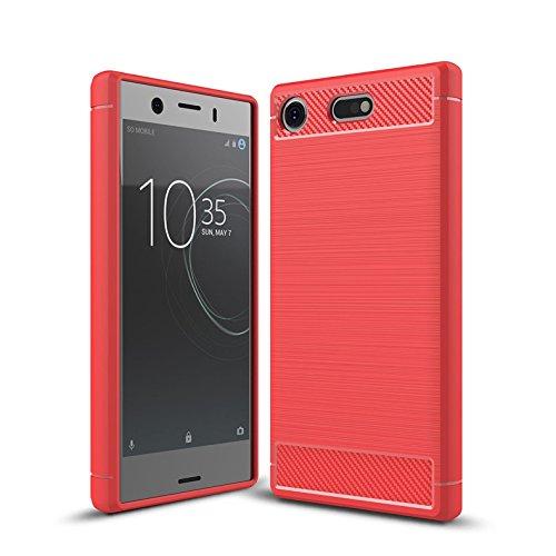Cruzerlite Cover Sony Xperia XZ1 Compact Custodia, Carbon Fiber Shock Absorption Slim TPU Cover Custodia for Sony Xperia XZ1 Compact (2017) (Red)