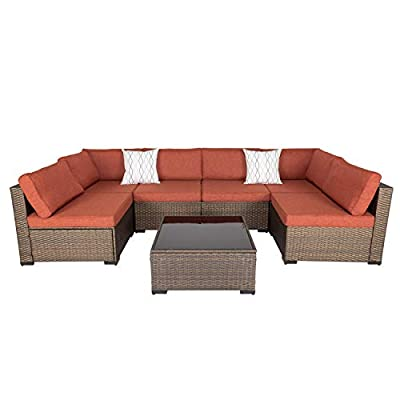 Kinsunny 7 PCs Outdoor Furniture Wicker Sectional Sofa with 2 Pillows and Tea Table Patio Rattan Conversation Chair Sofa Set