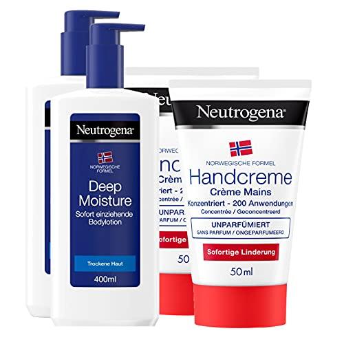 Neutrogena Norwegische Formel Körper- & Handpflege-Set - je 2x Deep Moisture Bodylotion für Trockene Haut & unparfümierte Handcreme - Pflege für trockene Haut und Hände im praktischen Vorteilspack