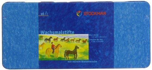 Stockmar 32000 - Pastelli a cera, 16 pezzi, custodia in latta