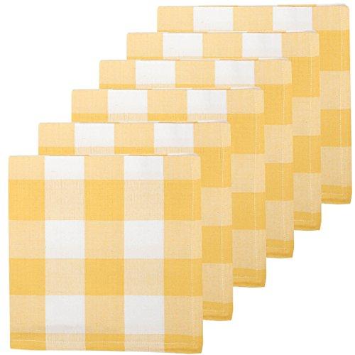C&F Home Franklin Buffalo Check Gingham Plaid Woven Sunrise Yellow and White Cotton Machine Washable Napkin 18x18 Set of 6 Napkin Set of 6 Yellow