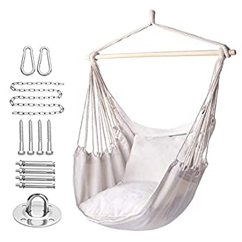 Y- STOP Hammock Chair Hanging Rope Swing Max 320 Lbs 2 Seat Cushions Included Hanging Chair with Pocket Quality Cotton Weave for Indoor and Outdoor Beige