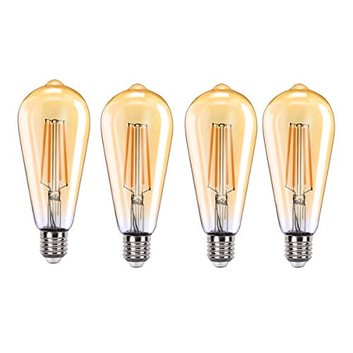 MoKo WIFI Inteligente Edison Bombilla ST64, E27 7.5W LED Luz, Funciona con Alexa Echo, SmartThings, Google Home, Voz/Remote Control, Temporizador, 2700K Luz Blanca Cálida, No Requiere Hub - 4 PZS