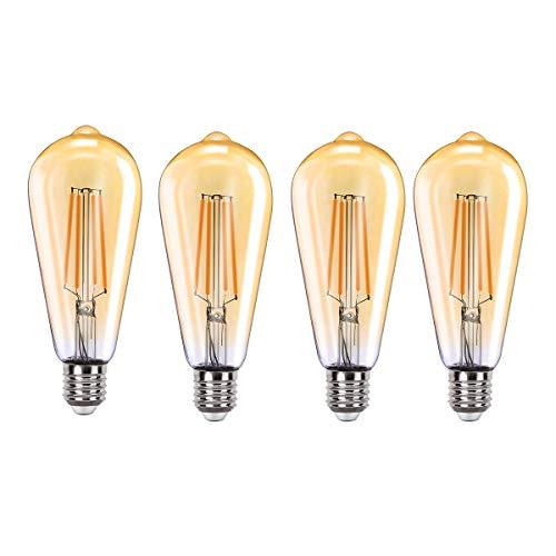 MoKo Smart WLAN Edison Glühbirne, E27 7.5W WiFi Vintage Birne Dimmbar LED Lampe Glühlampe Retro Glühbirnen Kompatibel mit Alexa Echo Google Home SmartThings, Warmweiß Licht Fernsteuerung Timer, 4 Pack