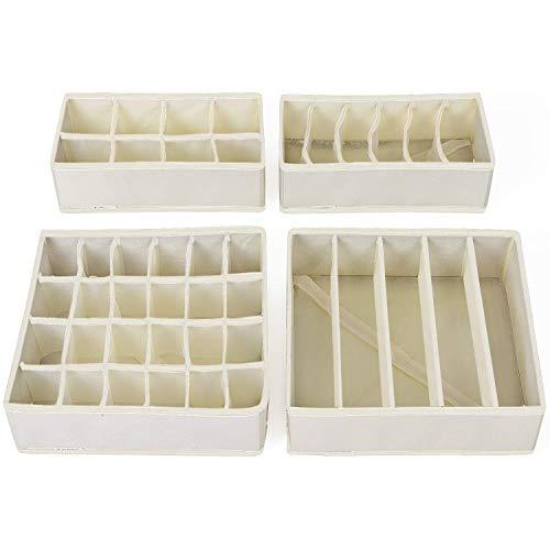 SONGMICS Aufbewahrungsboxen für Unterwäsche, Schubladen-Organizer, Ordnungssystem für Kleiderschrank, faltbar, für BHS, Unterwäsche, Socken, Krawatten, Faltbox, Stoffbox, 4er Set, beige RUS04M