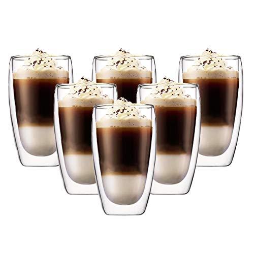 Latte macchiato Gläser set 6 x 450 ml | Thermogläser Doppelwandig | Kaffeeglas, Trinkgläser, Teegläser, Cappuccino Gläser aus Borosilikatglas (6 x 450 ml)
