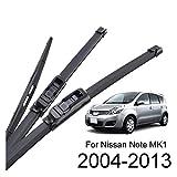 FSXF Balais d'essuie-Glaces pour Nissan Note MK1 E11 2013 2012 2011 2010 2009 2008 2007 2006 2005 2004 Pare-Brise Arrière Avant Essuie-Glace Blades Kit 24'14' 12'