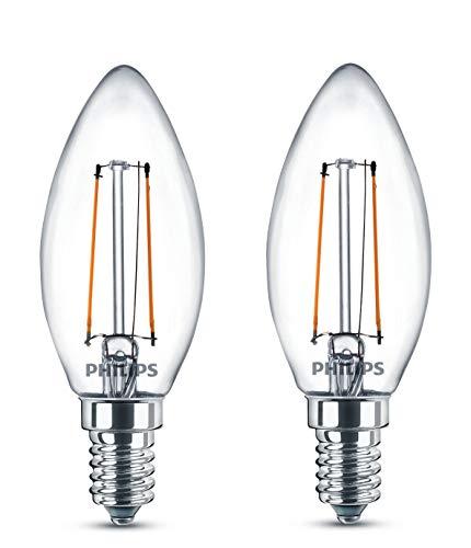 Philips 8718696587553 A++, LED-Leuchtmittel, Glas, 2 W, E14, klar, 3.5 x 3.5 x 9.7 cm