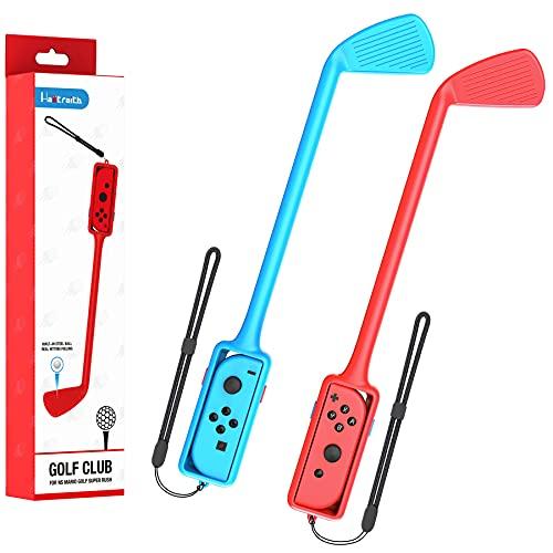 Hastraith Accesorios Palos de Mario Golf Super Rush, Adecuados para Nintendo Switch Joy-con Control Juego de Dos Piezas, Accesorios de Juego Mario Golf (Rojo y Azul)