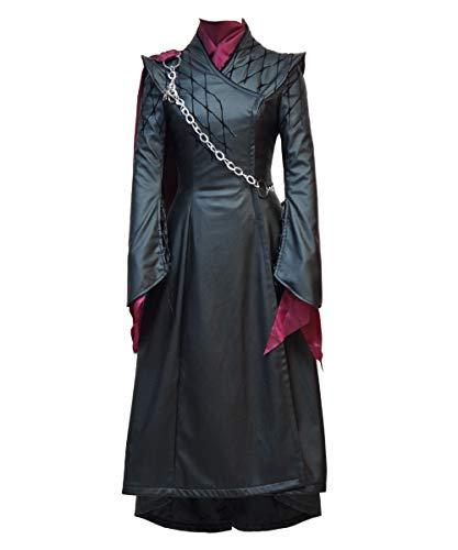 BellaPunk Daenerys Kostüm Saison 8 Schwarz Lederkleid Kleid Komplettset für Damen (Damen S, Schwarz)