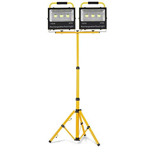 HENGMEI LED Fluter Akku Baustrahler Arbeitsleuchte Strahler Flutlicht Scheinwerfer handlampe für Camping (2X150W Kaltweiß + Stativ)
