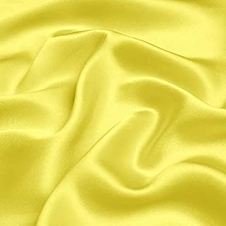 F.D.SILK 19MM 100% Mulberry Bright Yellow Silk Charmeuse Fabric By the Yard, 48 Colors, Bright Yellow SZD1910