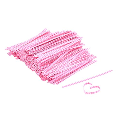 sourcing map Motif à Carreaux Candy Wrapper Attache Sac Décoration chaîne 102mm Longueur 1000 pcs Rose