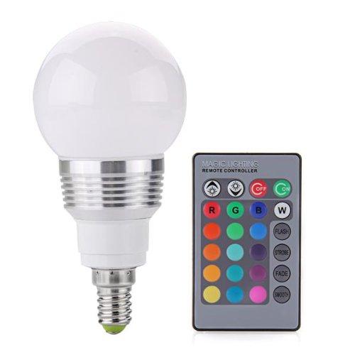 CroLED E14 LED Lampe RGB Farbwechsel 3W Party Zubehör Lichteffekte AC 230V 16 Farben mit Fernbedienung Leuchte