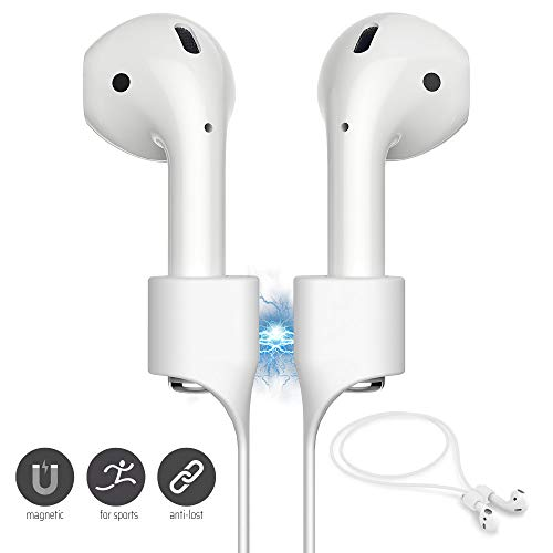 FONY Airpods Magnetic Strap Anti-Lost Airpods Cord Sport String Silicone Leash Cable Connector – Airpods Accessories for Airpods Pro/2/1 (White)