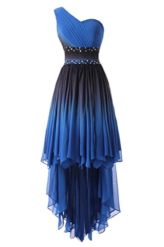 HUINI Elegante Abendkleider Lang Trägerlose One Shoulder Empire Chiffon Ballkleid Festkleid High Low 34