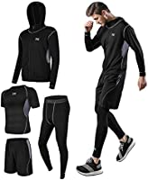 Men's Compression Wear Set, Training Wear, 5-Piece Set, Breathable, Odor Resistant, Sportswear, Running Wear, Hoodie,...