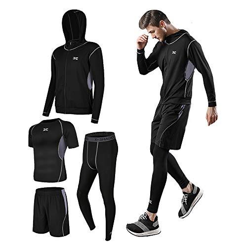 コンプレッションウェア セット スポーツウェア メンズ タイツ パーカー ハーフパンツ 半袖 長袖 4点セットト レーニングウェア ランニング 吸汗 速乾 姿勢矯正