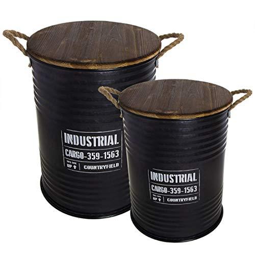 Home Gadgets Mesa Bidon Industrial Juego 2 Unidades Negras 5