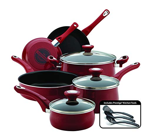 Farberware 14383 New Traditions Nonstick Cookware Pots and Pans Set, 12-Piece, Red Speckle