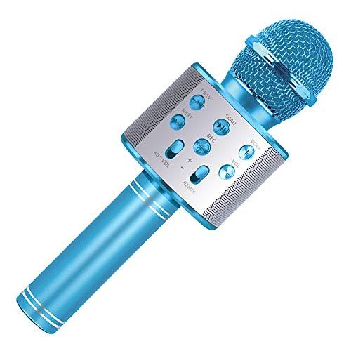 Wiwi Micrófono de Karaoke para niños, 4-12 años Regalo de cumpleaños para niña Cantar para niños Micrófono de Karaoke Juguetes para niños 5-10 años Niña Niño Regalo de música Niño Niña Micrófono Azul