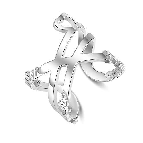 Madeindirect Damen Namensring Twist Ring Offen Einstellbar Ring mit Namen Gravur Personalisierte Familienringe Geschenk für Geburtstag Jahrestag
