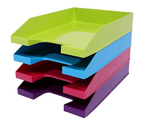 Kim Kranholdt GmbH - Vaschetta portacorrispondenza impilabile, formato A4, 4 pezzi, colori: verde, rosa, blu e viola