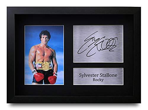 HWC Trading Sylvester Stallone A4 Enmarcado Regalo De Visualización De Fotos De Impresión De Imagen Impresa Autógrafo Firmado por Rocky Los Aficionados Al Cine