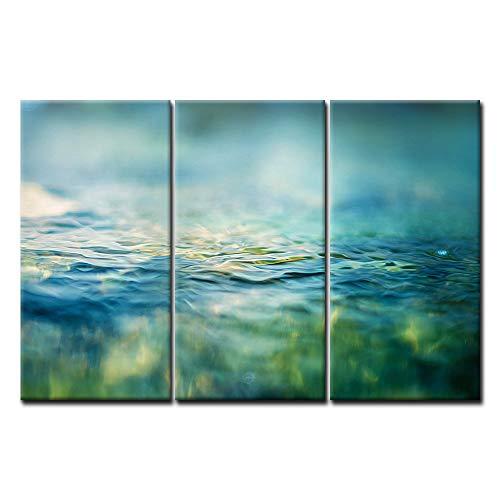 First Wall Art - Agua Baño Cuadros en Lienzo Plantas Verdes Reflejadas en el Agua Decoracion de Pared 3 Piezas Modernos Verde Azulado Mural Fotos para Salon,Dormitorio,Comedor