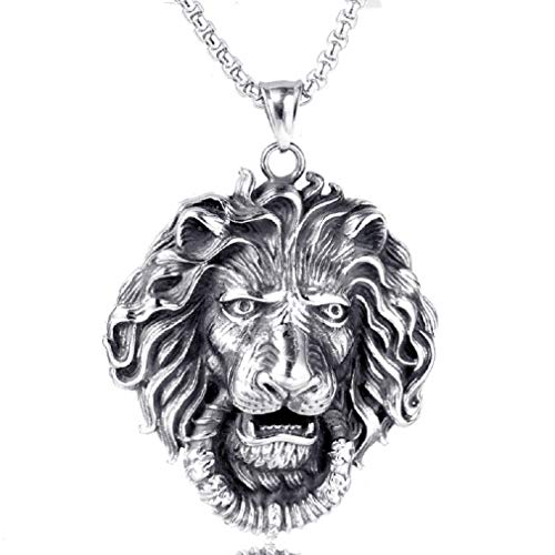 """Lion Necklace for Men, Norse Viking Lion Head Pendant Necklace with 23.6"""" Chain, Gothic Hip Hop Roaring Lion Necklace, Vintage Lion Totem Amulet Necklace, Punk Animal Lion Jewelry Gift for Men Boys"""