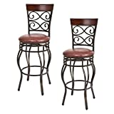 COSTWAY Bar Stools Set of 2, 360 Degree Swivel, 30' Seat Height Bar Stools, Leather Padded Seat Bistro Dining Kitchen Pub Metal Chairs (Set of 2)