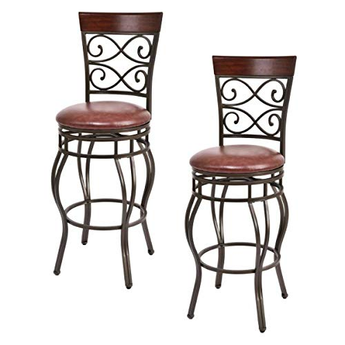 COSTWAY Bar Stools Set of 2, 360 Degree Swivel, 30' Seat Height Bar Stools, w Leather Padded Seat Bistro Dining Kitchen Pub Metal Chairs (Set of 2)