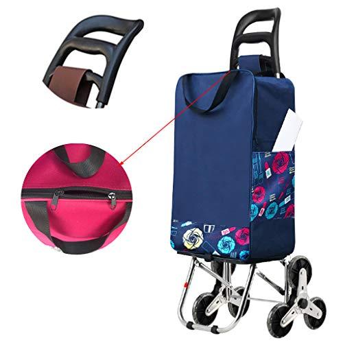 Opvouwbare trolley, Wielenwinkelwagen met stille driewieler en afneembare waterdichte zak, opvouwbare lichtgewicht leuning voor thuis