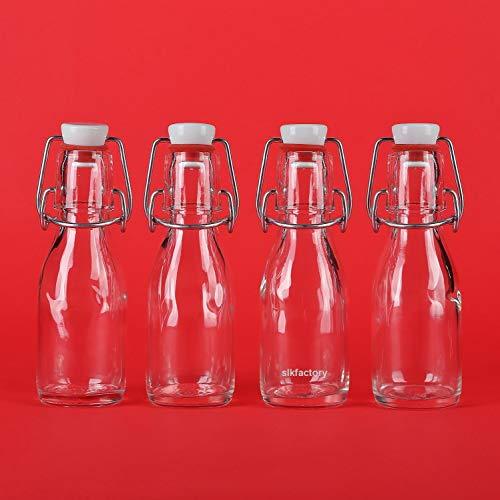 12 leere Glasflaschen a 100 ml mit kleine Bügelverschluss-Flasche mit Bügel Bügelflasche 0,1 liter l Drahtbügel-Flasche Schnapsflasche Likörflasche mit Verschluss von slkfactory