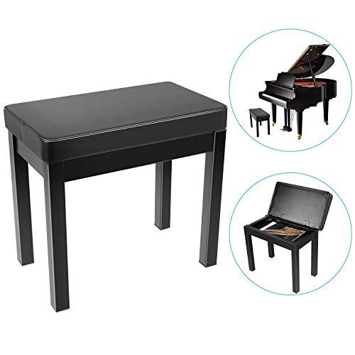 Neewer Klavier Bank Hocker Keyboard Bank-Gepolstertes Kissen Luxus Komfort mit Musikaufbewahrung, Eisenbeine für Keyboard, Schminktisch Musikbücher usw. 20,8x11,8x19 Zoll (Schwarz)