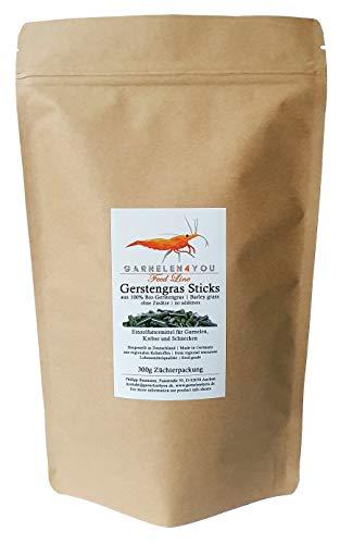 GARNELEN4YOU® Bio-Gerstengras Sticks, 300 g hochwertige Futter Pellets zur entspannten Fütterung von Aquarienbewohnern wie Garnelen, Krebse und Schnecken (300g)