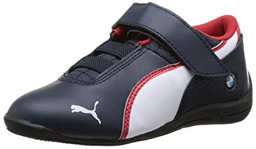 PUMA Drift Cat 6 L BMW V Kids - Botas de Moto Unisex, Color Marino/Blanco, Talla 28