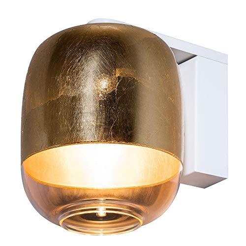 Gong W1 Wandleuchte, gold weiß Schirm Glas Struktur Metall weiß BxHxT 18x22,5x24,5cm