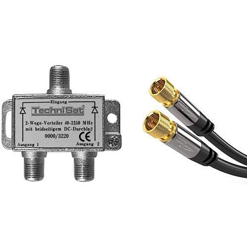 TechniSat 2-Wege Sat-Verteiler (2x DC-Durchlass, Diodenentkoppelt) & KabelDirekt - SAT Kabel - 0,5m - (F-Stecker, 75 Ohm, F Stecker Koaxialkabel geeignet für TV,HDTV,Radio,DVB-T,DVB-C,DVB-S,DVB-S2)