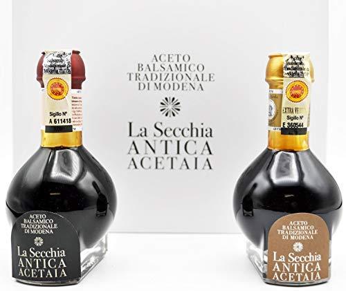 """La Secchia - """"Duetto"""" Dueto de Vinagre Balsámico Tradicional de Módena D.O.P """"Affinato"""" y """"Extra Vecchio"""" - 2 Botellas de 100 ml en Paquete Elegante Forrado de Lona."""