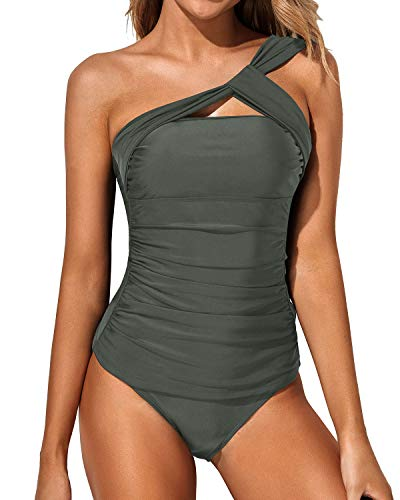 Tempt Me Women Grey Tankini Ruched One Shoulder Tummy Control Top with Shorts Two Piece Swimsuits L