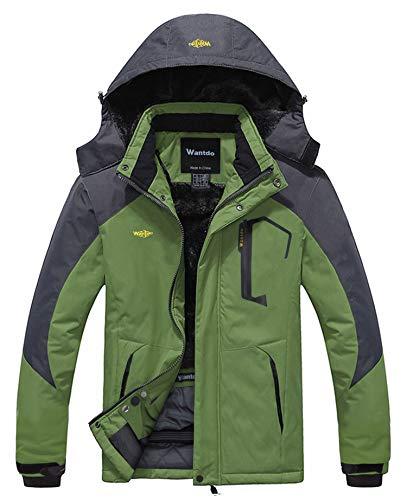 Wantdo Giacca da Snowboard Running Parka in Pile Imbottita Calda Parka con Cappuccio Antivento Cappotto da Passeggio all'Aperto Sport Uomo Grigio Scuro e Verde XL