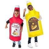 Kids Ketchup & Mustard Halloween Costume Fun Food Childrens Unisex 2-pk (YXL)